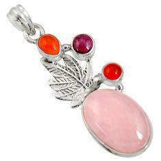 Clearance Sale- 925 silver 16.93cts natural pink morganite cornelian (carnelian) pendant d36715
