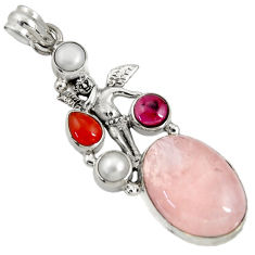 Clearance Sale- 20.86cts natural morganite cornelian 925 silver angel wings fairy pendant d36717