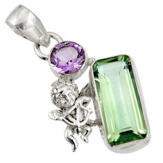 9.39cts natural green amethyst amethyst 925 sterling silver angel pendant d36721