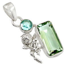 Clearance Sale- 8.54cts natural green amethyst topaz 925 sterling silver angel pendant d36722