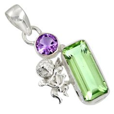 9.72cts natural green amethyst amethyst 925 sterling silver angel pendant d36723