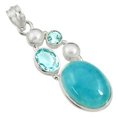 925 sterling silver 18.17cts natural blue aquamarine topaz pearl pendant d36724