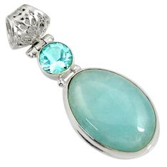 16.70cts natural blue aquamarine topaz 925 sterling silver pendant d36725