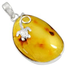 17.22cts natural green amber from colombia 925 silver turtle pendant d36739