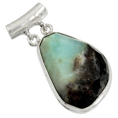 Clearance Sale- 19.23cts natural green boulder amazonite 925 sterling silver pendant d36742