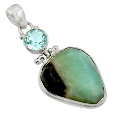 Clearance Sale- 25.60cts natural green boulder amazonite topaz 925 silver pendant d36745
