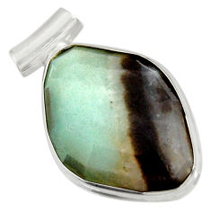 Clearance Sale- 925 sterling silver 19.23cts natural green boulder amazonite pendant d36747