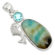 Clearance Sale- 24.62cts natural green boulder amazonite topaz 925 silver fish pendant d36749