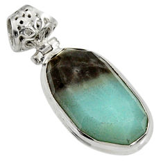 Clearance Sale- 925 silver 17.22cts natural green boulder amazonite fancy pendant d36751