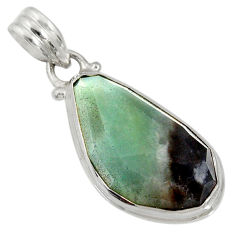 Clearance Sale- 16.03cts natural green boulder amazonite 925 sterling silver pendant d36753