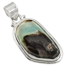 Clearance Sale- 925 sterling silver 17.22cts natural green boulder amazonite pendant d36757