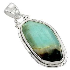 Clearance Sale- 18.15cts natural green boulder amazonite 925 sterling silver pendant d36758