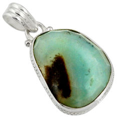 Clearance Sale- 925 sterling silver 17.18cts natural green boulder amazonite pendant d36760