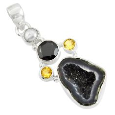 Clearance Sale- 14.23cts natural black geode druzy citrine 925 sterling silver pendant d36771