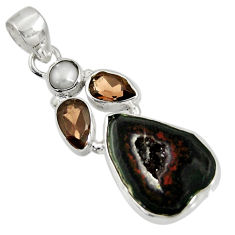 925 silver 13.15cts natural black geode druzy smoky topaz pearl pendant d36772