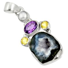 Clearance Sale- 925 silver 15.55cts natural black geode druzy citrine pearl pendant d36774