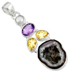 Clearance Sale- 15.08cts natural black geode druzy citrine 925 sterling silver pendant d36777