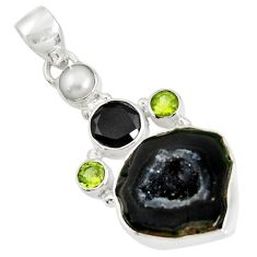 Clearance Sale- 17.42cts natural black geode druzy peridot 925 sterling silver pendant d36778
