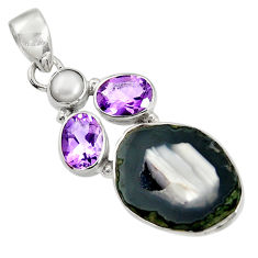 925 silver 15.55cts natural black geode druzy amethyst pearl pendant d36779