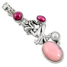 8.69cts natural pink opal garnet 925 sterling silver angel pendant d36781