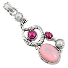 10.89cts natural pink opal garnet 925 silver anaconda snake pendant d36782