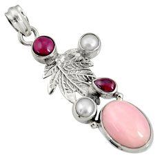 Clearance Sale- 925 sterling silver 9.04cts natural pink opal garnet deltoid leaf pendant d36785
