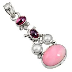 Clearance Sale- 10.57cts natural pink opal garnet pearl 925 sterling silver pendant d36795