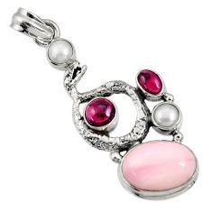 Clearance Sale- 10.47cts natural pink opal garnet 925 silver anaconda snake pendant d36798