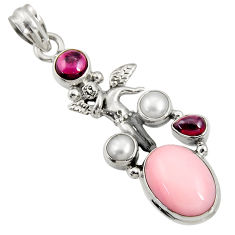 Clearance Sale- 9.37cts natural pink opal garnet pearl silver angel wings fairy pendant d36799