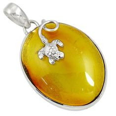 19.72cts natural green amber from colombia 925 silver turtle pendant d36813