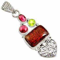 925 silver 12.34cts natural multi color ammolite (canadian) heart pendant d36826