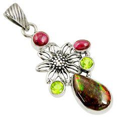11.83cts natural multicolor ammolite (canadian) 925 silver flower pendant d36833