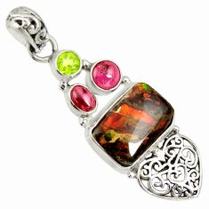11.02cts natural multi color ammolite (canadian) 925 silver heart pendant d36837