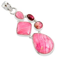 Clearance Sale- 20.75cts natural pink rhodochrosite inca rose (argentina) silver pendant d36847