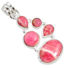 13.07cts natural pink rhodochrosite inca rose (argentina) silver pendant d36848