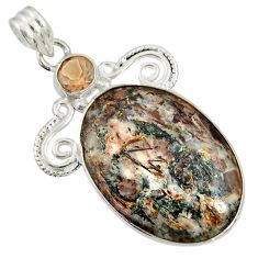Clearance Sale- 22.02cts natural bronze astrophyllite (star leaf) 925 silver pendant d36865