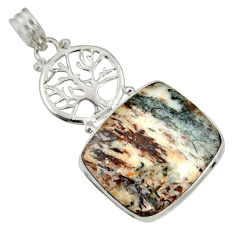 Clearance Sale- 925 silver 24.38cts natural bronze astrophyllite tree of life pendant d36867
