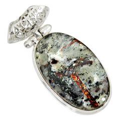 Clearance Sale- 24.00cts natural bronze astrophyllite (star leaf) 925 silver pendant d36871