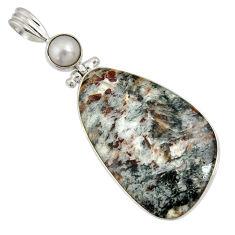 Clearance Sale- 30.49cts natural bronze astrophyllite (star leaf) 925 silver pendant d36877