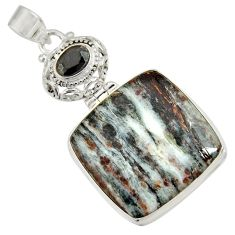 Clearance Sale- 925 silver 31.56cts natural bronze astrophyllite (star leaf) onyx pendant d36878