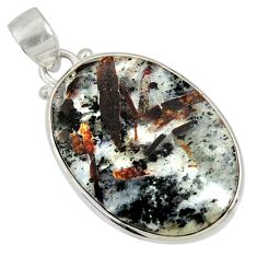 Clearance Sale- 22.02cts natural bronze astrophyllite (star leaf) 925 silver pendant d36880