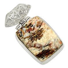 Clearance Sale- 20.07cts natural bronze astrophyllite (star leaf) 925 silver pendant d36882