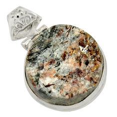 Clearance Sale- 22.54cts natural bronze astrophyllite (star leaf) 925 silver pendant d36883