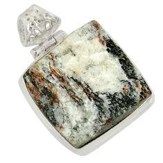 Clearance Sale- 26.65cts natural bronze astrophyllite (star leaf) 925 silver pendant d36887