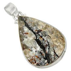 Clearance Sale- 36.48cts natural bronze astrophyllite (star leaf) 925 silver pendant d36889