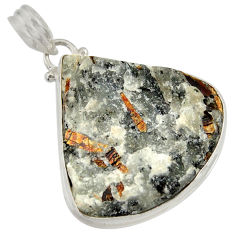 Clearance Sale- 34.75cts natural bronze astrophyllite (star leaf) 925 silver pendant d36890