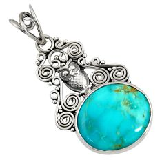 13.09cts natural green kingman turquoise 925 sterling silver owl pendant d36906