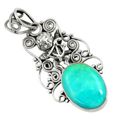 Clearance Sale- 11.23cts natural kingman turquoise 925 silver angel wings fairy pendant d36912