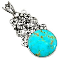 15.39cts natural green kingman turquoise 925 silver holy cross pendant d36914