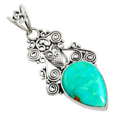12.62cts natural green kingman turquoise 925 sterling silver owl pendant d36917